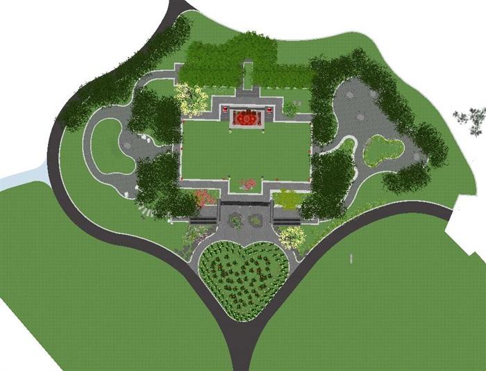 海州湾会议中心中式婚庆广场景观方案SU模型(13)