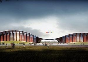 全民健身中心建筑设计方案SU(草图大师)模型