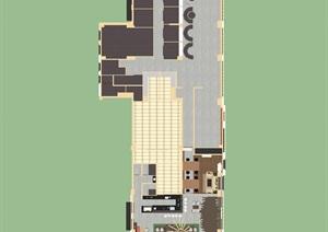 現代風格咖啡屋室內裝潢方案SU(草圖大師)模型