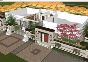 新中式小區入戶大堂裝潢方案SU(草圖大師)模型