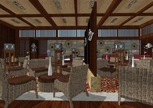 古典中式餐飲會所室內設計方案SU(草圖大師)模型