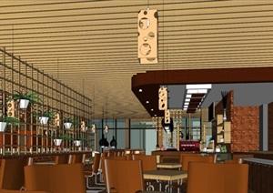 現代風格精品咖啡與奶茶店SU(草圖大師)模型