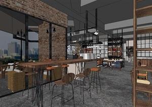 現代風格loft咖啡廳裝潢方案SU(草圖大師)模型