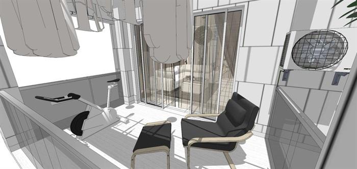 现代风格三房两厅两卫户型室内设计SU模型(2)