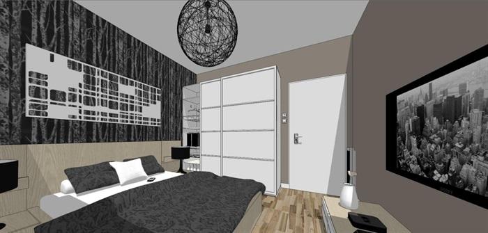 现代风格三房两厅两卫户型室内设计SU模型(3)
