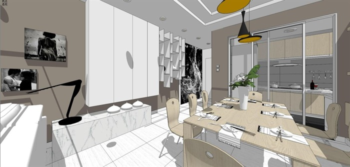 现代风格三房两厅两卫户型室内设计SU模型(4)