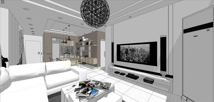 现代风格三房两厅两卫户型室内设计SU模型(5)