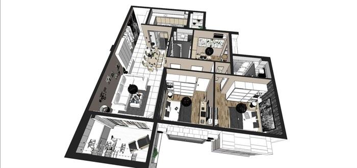 现代风格三房两厅两卫户型室内设计SU模型(6)