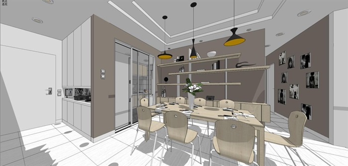 现代风格三房两厅两卫户型室内设计SU模型(9)