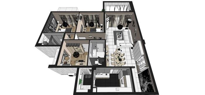 现代风格三房两厅两卫户型室内设计SU模型(8)