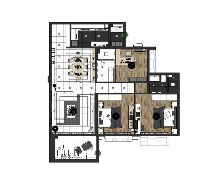 现代风格三房两厅两卫户型室内设计SU模型(11)