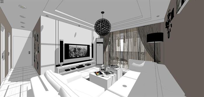 现代风格三房两厅两卫户型室内设计SU模型(13)