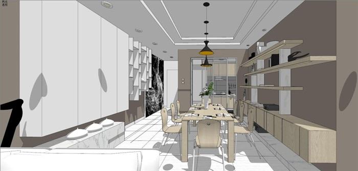 现代风格三房两厅两卫户型室内设计SU模型(15)