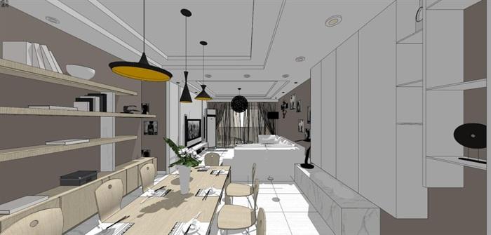 现代风格三房两厅两卫户型室内设计SU模型(14)