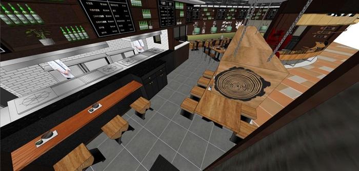 砂锅牛肉煲店面装潢设计方案SU模型(1)