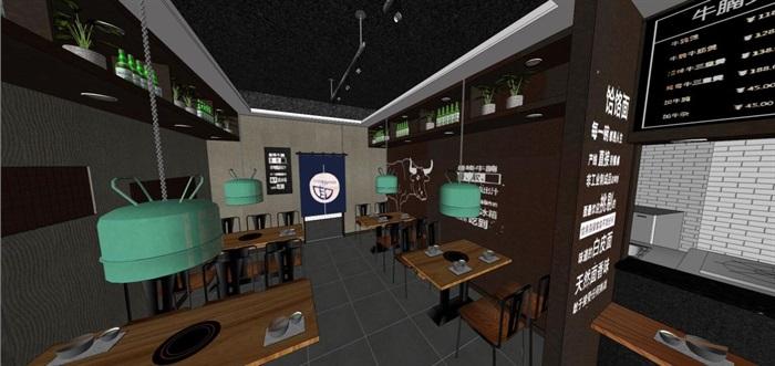 砂锅牛肉煲店面装潢设计方案SU模型(3)