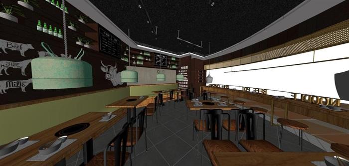 砂锅牛肉煲店面装潢设计方案SU模型(7)