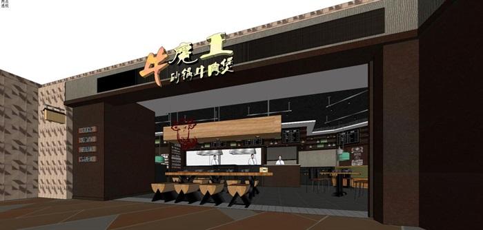 砂锅牛肉煲店面装潢设计方案SU模型(10)