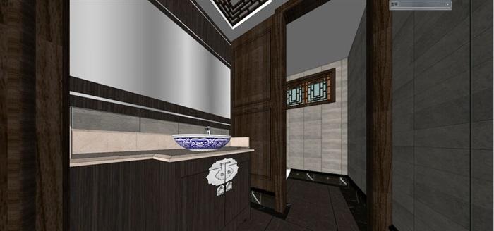 一个新中式包房精装设计方案SU模型(6)