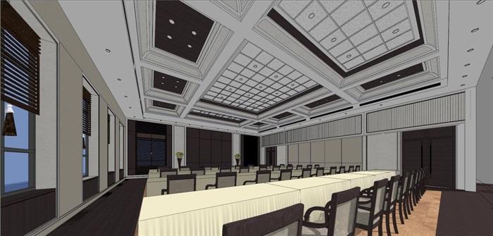 现代风格会议厅装潢方案SU模型(2)