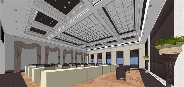 现代风格会议厅装潢方案SU模型(3)