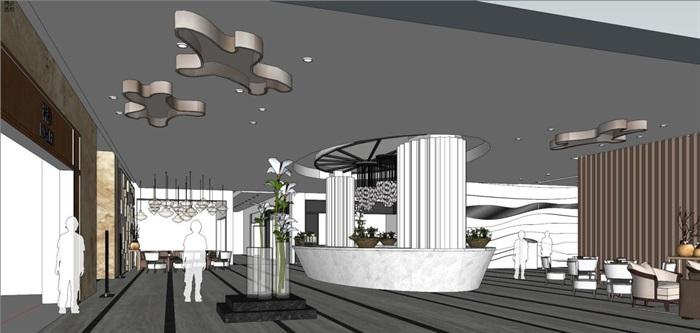 家具建材城大厅装潢设计方案SU模型(3)