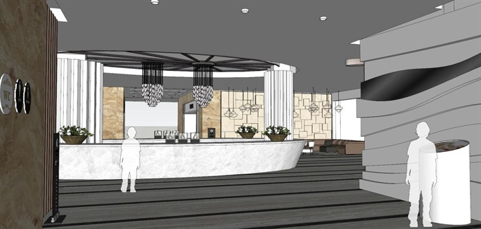 家具建材城大厅装潢设计方案SU模型(4)