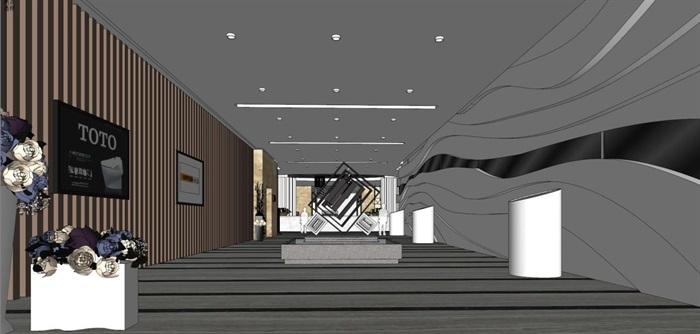 家具建材城大厅装潢设计方案SU模型(5)