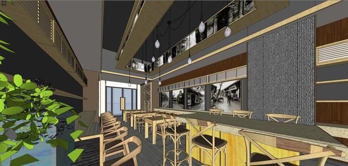 唐记大碗饭快餐厅室内设计SU模型(1)