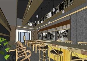 唐記大碗飯快餐廳室內設計SU(草圖大師)模型