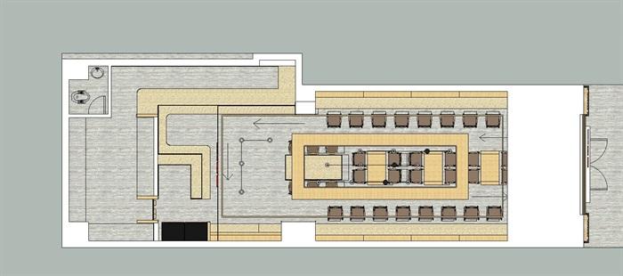 唐记大碗饭快餐厅室内设计SU模型(2)
