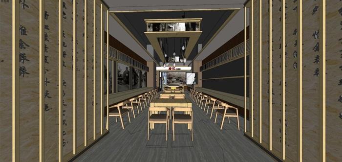 唐记大碗饭快餐厅室内设计SU模型(5)