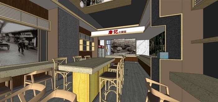 唐记大碗饭快餐厅室内设计SU模型(6)