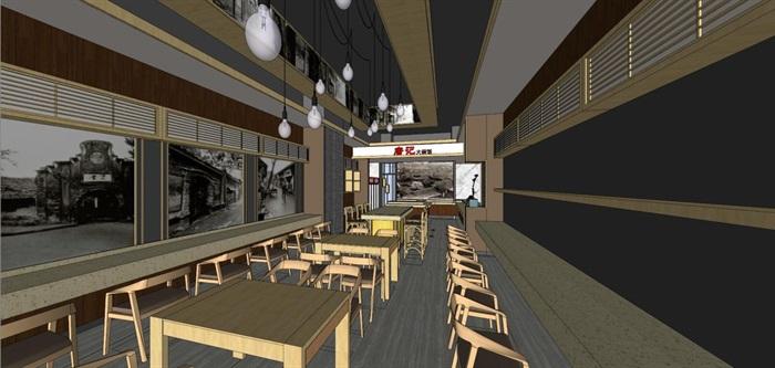 唐记大碗饭快餐厅室内设计SU模型(7)