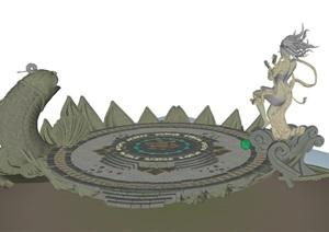 莲花台小广场游戏场景元素SU(草图大师)模型