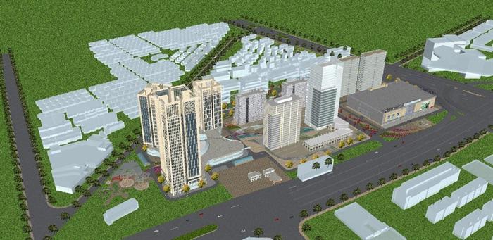 现代风格扬州月城广场SU模型(1)