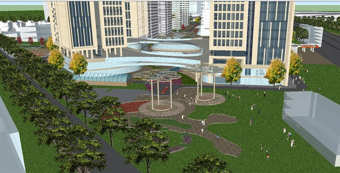 现代风格扬州月城广场SU模型(2)