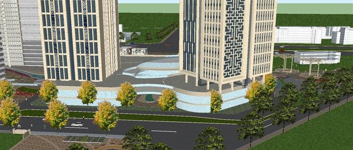 现代风格扬州月城广场SU模型(3)