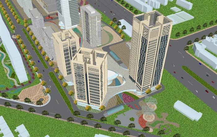 现代风格扬州月城广场SU模型(4)