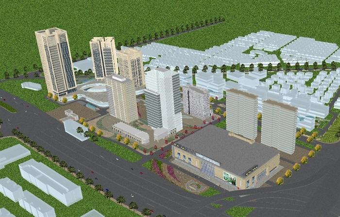现代风格扬州月城广场SU模型(5)