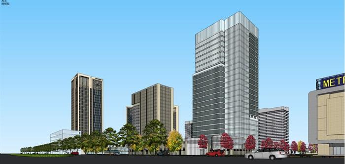 现代风格扬州月城广场SU模型(8)
