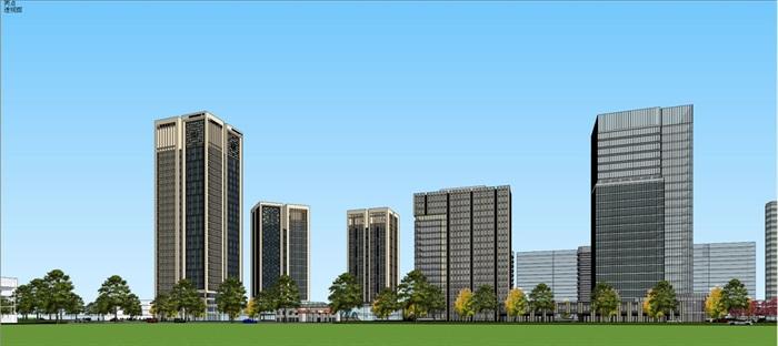 现代风格扬州月城广场SU模型(9)