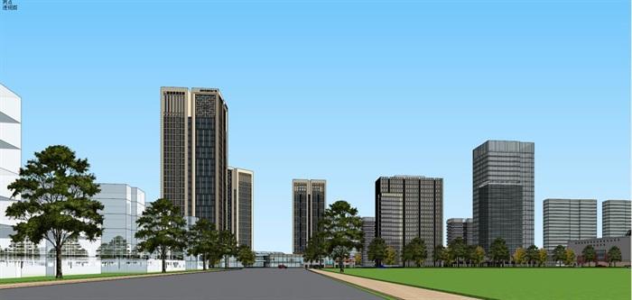 现代风格扬州月城广场SU模型(11)