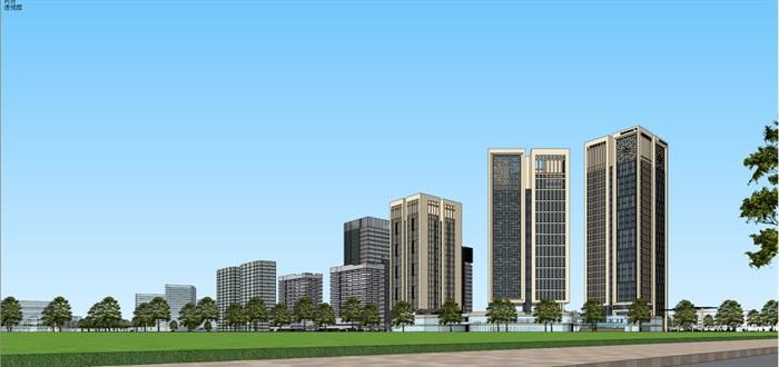 现代风格扬州月城广场SU模型(12)