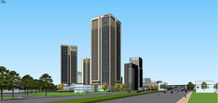 现代风格扬州月城广场SU模型(13)