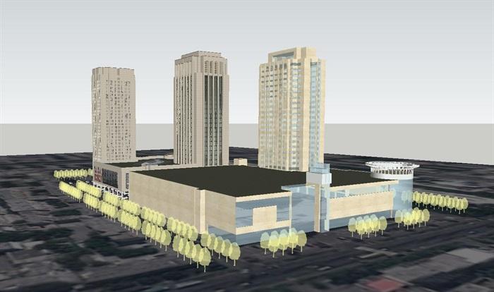 昌吉州环宇广场建筑设计方案SU模型(3)