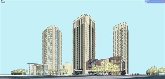 昌吉州环宇广场建筑设计方案SU模型(4)