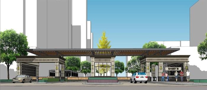 东达世纪广场入口大门方案SU模型(5)