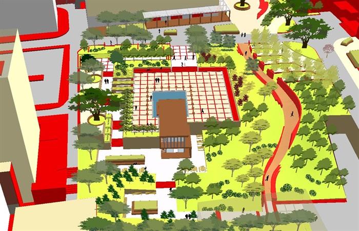 现代风格小型社区活动广场设计SU模型(1)