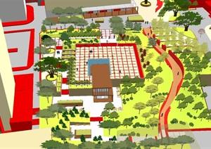 现代风格小型社区活动广场设计SU(草图大师)模型